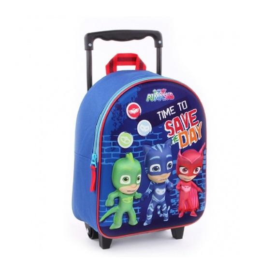 Liten resväska barn PJ Masks 3D On our Way blå