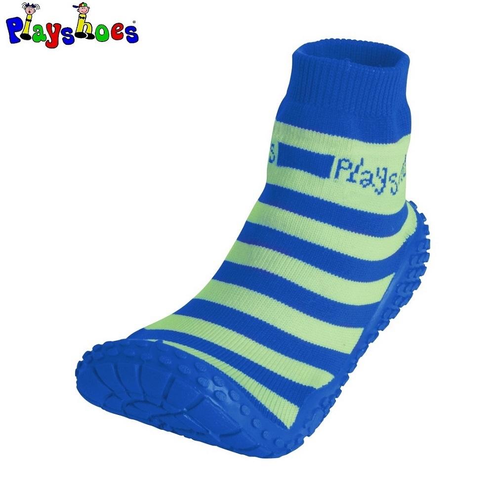 Badsockor barn Playshoes Aquasocks Blå och grönrandiga