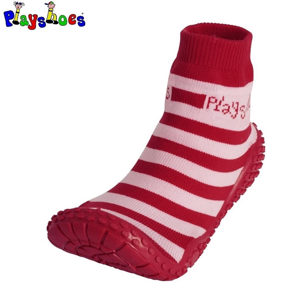 Badsockor barn Playshoes Aquasocks Röd och vitrandiga