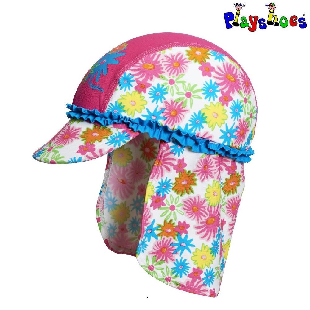 Solkeps barn med nackskydd Playshoes Pink Flowers
