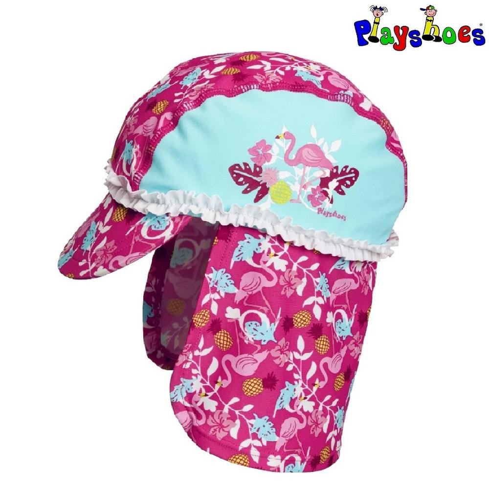 Solkeps barn med nackskydd Playshoes Flamingo