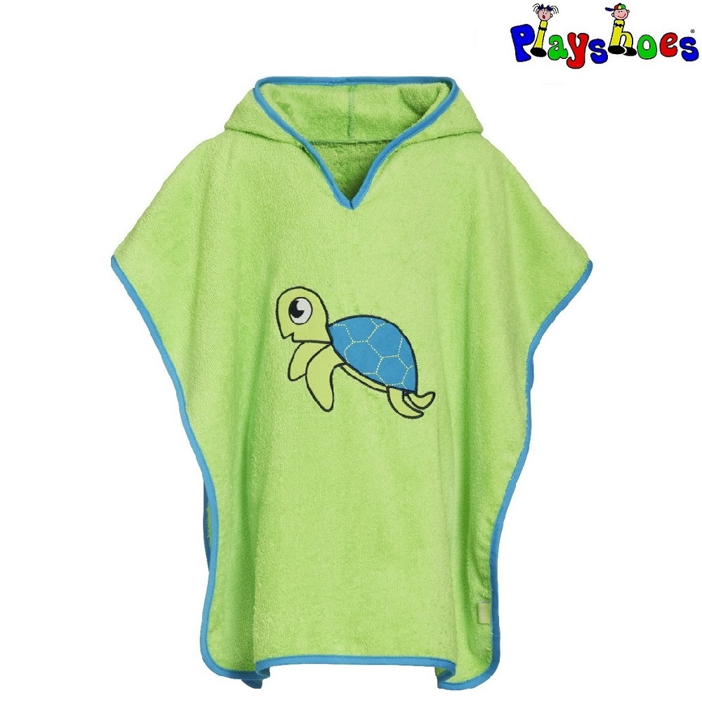 Badponcho barn Playshoes Turtle Grön