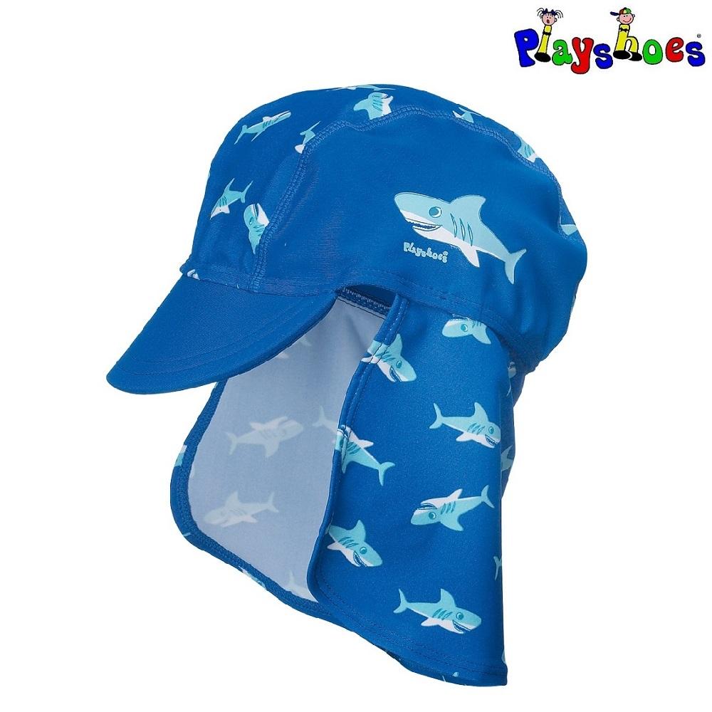 Solkeps barn med nackskydd Playshoes Blue Shark