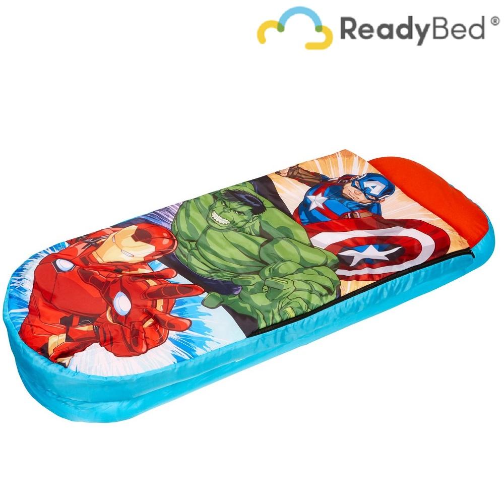 Resemadrass med lakan och kudde Readybed Junior Avengers