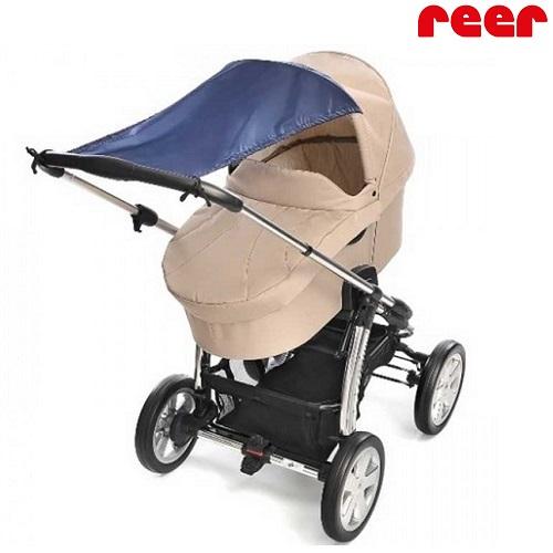 Solskydd barnvagn Reer blå