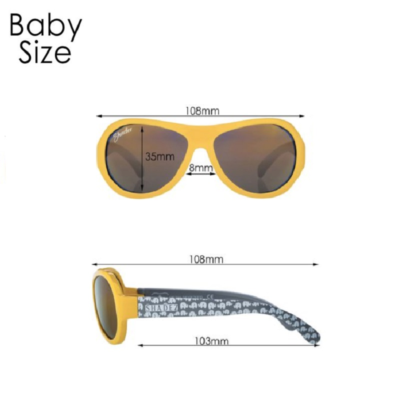 Måttangivelse för Shadez Baby solglasögon barn
