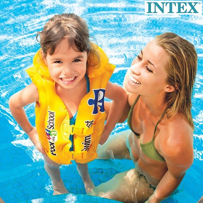 Simväst barn Intex Pool School gul