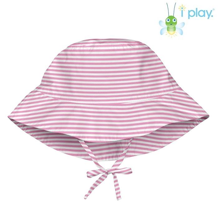 Solhatt barn Iplay Light Pink Pinstripe rosa och vit