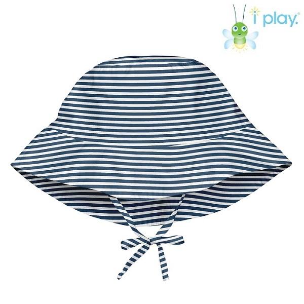 Solhatt barn Iplay Navy Pinstripe blå och vit