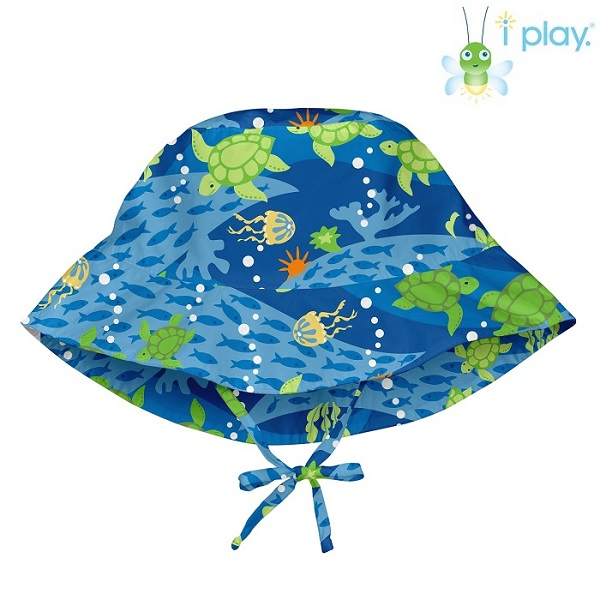 Solhatt barn Iplay Royal Blue Turtle Bucket blå och grön
