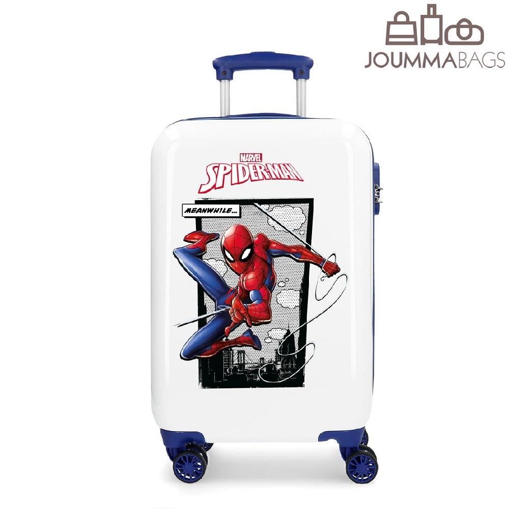 Spiderman resväska barn vit och blå ABS