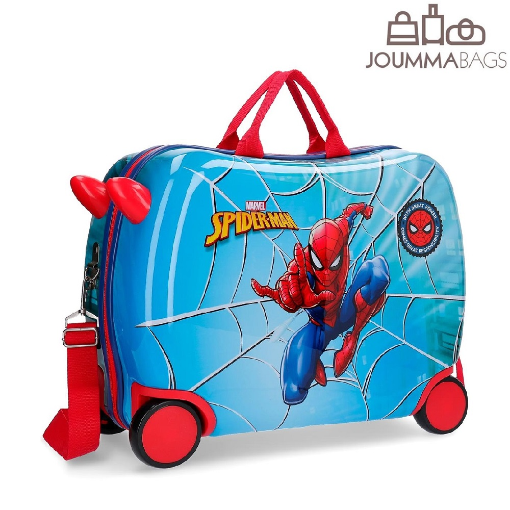 Spiderman resväska att åka på blå
