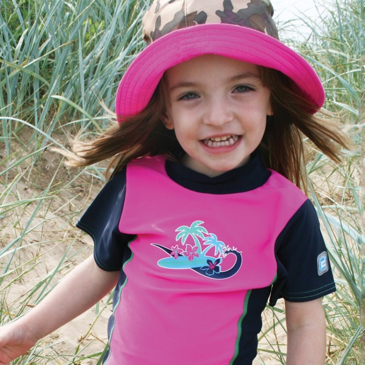 Solhatt barn SplashAbout Bucket Pink Camo