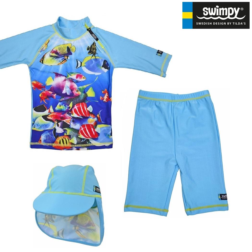 UV kläder barn Swimpy Fiskar Set med uv-tröja, uv-byxor och uv-hatt