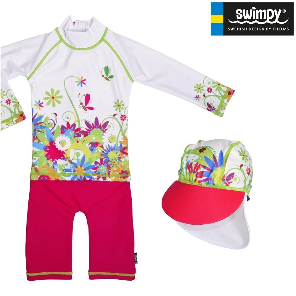 UV kläder barn Swimpy Flowers Set med uv-dräkt och uv-hatt
