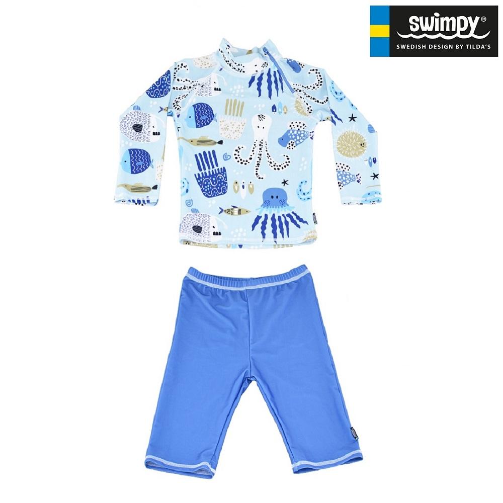 UV tröja och UV byxor Swimpy Octopus blå