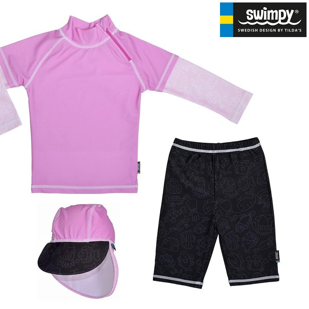UV kläder barn Swimpy Pink Ocean Set med uv-tröja, uv-byxor och uv-hatt