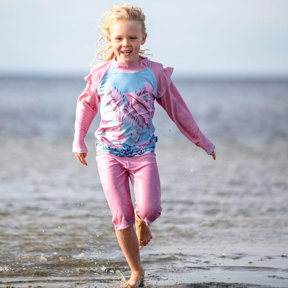 UV-tröja och UV-byxor för barn Swimpy Flamingo