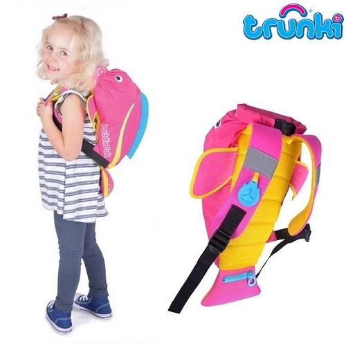 Ryggsäck barn Trunki PaddlePak vattentät Pink Tropical
