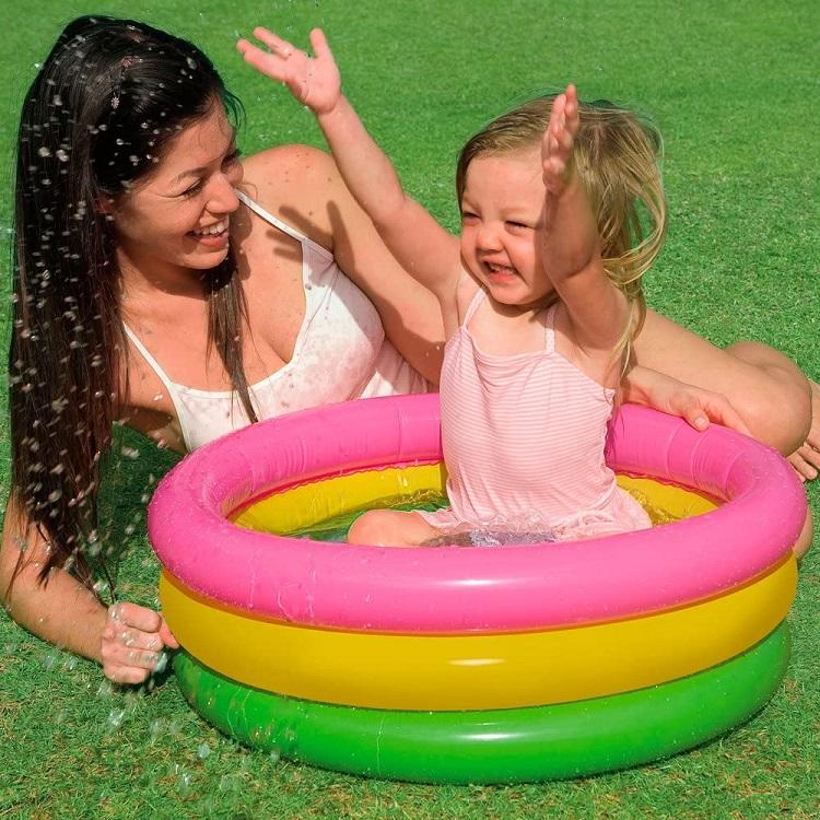 Uppblåsbar barnbassäng Intex Rainbow