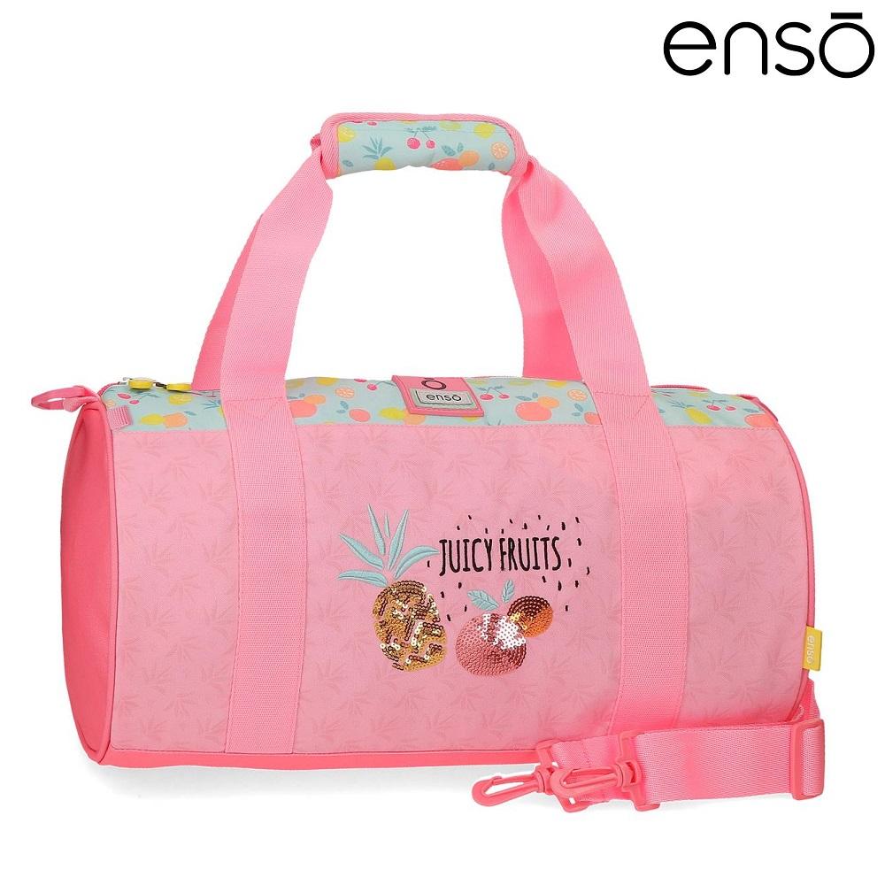 Enso barnväska Juicy Fruits resebag och sportväska för barn rosa