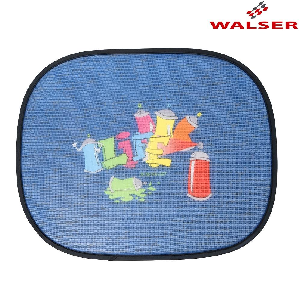 Solskydd bil Walser Graffiti blå